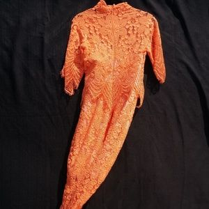 Orange ASOS Lace Crochet Midi Dress